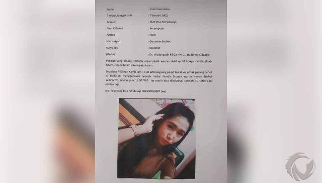 Dilaporkan Hilang, Siswi asal Sidoarjo Diduga Jadi Korban Pembunuhan