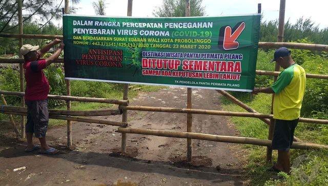 Wabah Covid-19, Pantai Permata Pilang Kota Probolinggo Ditutup Sementara