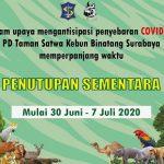 Surabaya Masuk Zona Merah, KBS Perpanjang Penutupan hingga 7 Juli 2020