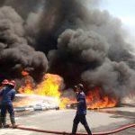 Tumpukan Palet di Gudang Bulog Sidoarjo Terbakar