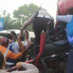 Kecelakaan Nganjuk, Dua Truk Tabrakan Sopir Asal Lamongan Terjepit