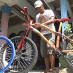 Desain Mirip Produk Pabrikan, Sepeda Bambu Karya Pria Lamongan ini Mencuri Perhatian